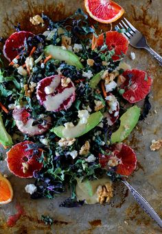 Kale Salad with Blood Oranges, Avocado, Walnuts, Goat Cheese, and Fig Vinaigrette