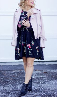 Canadian fashion blogger is wearing a pink faux suede moto jacket from Zara with an embroidered floral dress from Chicwish