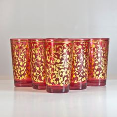 Moroccan Style Glasses Cups, Traditional Nana Mint Tea Serving Glasses, Islamic Glasses, Colorful Glasses in Red & Gold Shades