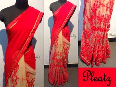Full thread embroidery bottom pleats with simple red georgette pallu..  Blouse - red body material with embroidery sleeves