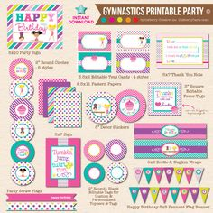 Adorable and fun complete AND editable, INSTANT DOWNLOAD, DIY PRINTABLE Cartwheels & Cupcakes Gymnastics Birthday Party package by Inkberry Creative, Inc. This party package is an INSTANT DOWNLOAD. Yo