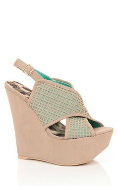 Deb Shops peep toe platform perforated #wedge $27.67