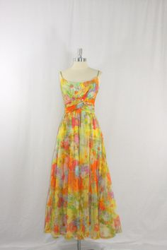 1950's Dress - WOWZA - Stunning Watercolor Chiffon in Bright Spring Colors Adorned with Rhinestones Full Length Coctail Gown