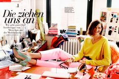 Jenna Lyons in yellow, pink + mint bow heels... color inspo!