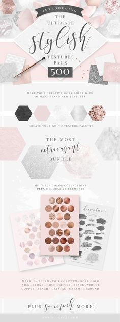 The Ultimate Stylish Textures pack with marble, glitter, rose gold, silver, blush, violet and more! Perfect for branding, blogging and design. Find it now on Creative Market.