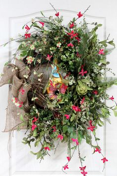 Country Summer Wreath, Front Door Wreath, Spring Wreath, Country Wreath, Wildflowers, Honeysuckle, Country Decor