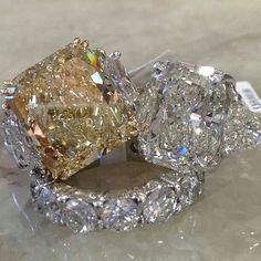 Yellow and White Diamond rings I Love Jewelry, Fine Jewelry, Jewellery, Diamond Rings, Diamond Jewelry, Diamond Girl, Dream Ring, Diamond Are A Girls Best Friend, Beautiful Rings
