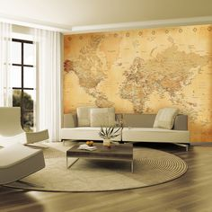 1 Wall - Vintage Map Wallpaper Mural