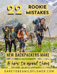 22 mistakes new backpackers make all the time and how to avoid them! Read 10 embarrassing gear mistakes I made on my first backpacking trip 12 more common newbie backpacking mistakes to avoid. backpacking tips Thru Hiking, Hiking Tips, Camping And Hiking, Camping Life, Camping Hacks, Camping Gear, Camping Gadgets, Camping Supplies, Camping Stuff