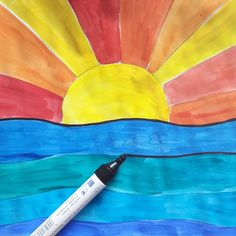"""""""KALTE UND WARME FARBEN"""" Farbtheorie in der Grundschule mit dem Bild """"Sonnenuntergang über dem Meer"""" Schritt 4: die Bleistiftlinien mit schwarzem Filzstift nachspuren ... Fertig🖌🎨!"""