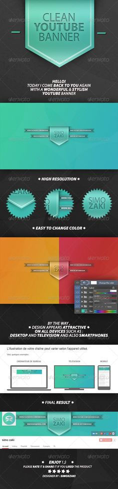 Clean Youtube Banner Template PSD. Download here: http://graphicriver.net/item/clean-youtube-banner/7263132?ref=ksioks