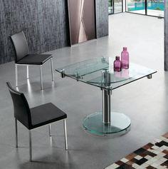 Mesa de comedor ovalada extensible - cristal - LE MANS
