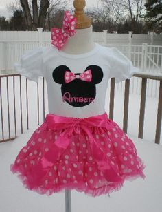 Personalized Minnie Mouse Inspired Pettiskirt Outfit