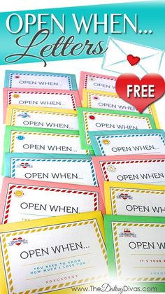 Free printables to make your own 'Open When' Letters!