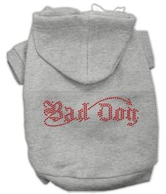 Bad Dog Rhinestone Hoodies Grey XXL (18)