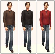Mod The Sims - Cute Cozy Sweaters & Jeans - 3 Colour Choices