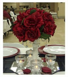 Black and Red Wedding Decoration Sale :  wedding black ceremony flowers reception red white Headtablepeice
