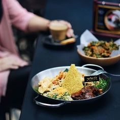 A date after a while at @mkoindobistro the most happening resto in Malang. // Nasi Tumpeng Mini x Bayam Crispy.  #inijiegram #food #TableToTable #kuliner #culinary #coffee #handsinframe