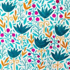 ladanamjad -  Day 10/100 #floral #illustration #pattern #patterndesign #surfacepattern ##the100dayproject #100daysofflorals #100florals #floralgalore #spring  #gouache #ladanamjad #art #foliage #print
