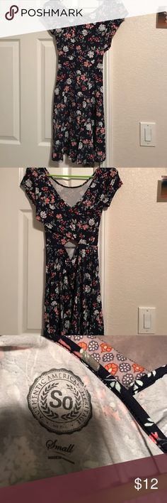 Navy blue floral skater dress Worn once khols Dresses
