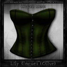 The Little Bat - Lily Corset - Olive; http://slurl.com/secondlife/Obayifo/150/93/43