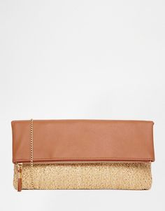 New Look Foldover Clutch with Basket Weave Panel