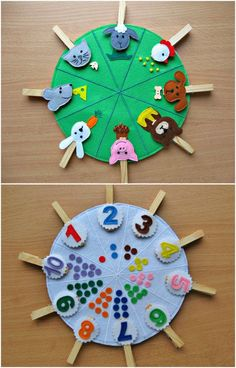 This toy is for children over 2 years. Made of felt in the form of bilateral circle. Need to find for each animal his food. On the other side of the circle located points from 1 to 10. Necessary to find the right number on the clothespin. This game helps to develop fine motor skills, logical thinking. It contains small parts, adult supervision is necessary. The game contains a circle and 18 clothespins. The diameter of a circle of about 20 cm, length clothespins 7 cm.