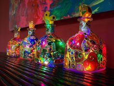 """""""Stained glass"""" painted Patron tequila bottle lights"""