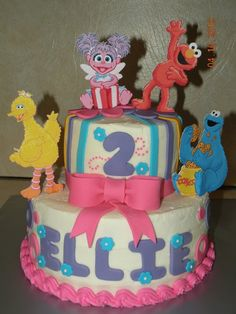 My Daughters First Birthday Cake By Z Key Abby Cadabby And Elmo - Elmo and abby birthday cake
