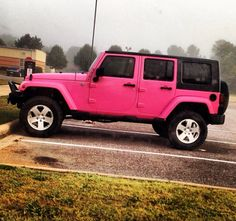 Pink jeep. Yes, this makes me want to paint mine!