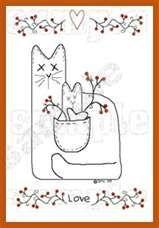 Stitchery - Stitchery/Painting Pattern #4 Primitive Cat - The Prim ...