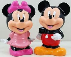 """5"""" Mickey Minnie Mouse Figures Coin Piggy Banks MoneyBoxes Set 2pc"""