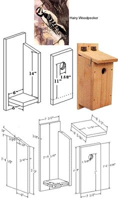 Bird House Plans 369647081907120409 - Nesting box for wood pecker birds Bird House Plans Free, Bird House Kits, Carpentry Projects, Diy Wood Projects, Garden Box Plans, Garden Boxes, Bird House Feeder, Bird Feeders, Bird Houses Diy