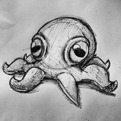 I drew a little octopus while I was bored. I drew a little octopus while I was bored. Dark Art Drawings, Pencil Art Drawings, Art Drawings Sketches, Cute Drawings, Graffiti Art Drawings, Octopus Drawing, Octopus Art, Cute Octopus Tattoo, Octopus Sketch