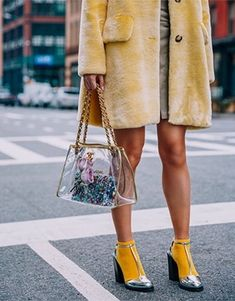 Street Style-SHEISREBEL.COM, love this yellow socks and metallic silver shoes combo, faur fur yellow coat, clear plastic bag trend, a sock and shoe edgy combo