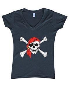 9d5c3788 Jolly Roger Skull Crossbones Women's V-Neck T-shirt Pirate Flag Shirts Flag  Shirt