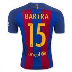Barcelona 16-17 Marc #Bartra 15 Hjemmebanesæt Kort ærmer,208,58KR,shirtshopservice@gmail.com