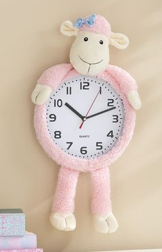 Super cute pink lamb clock for Nursery - and there's a blue bear, too!