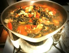 #KALE AND #LENTIL #SOUP. #Vegetarian. 1.In LG saucepot, saute one medium diced onion in 1 tbsp olive oil until soft. 2.Add half of a 16oz bag of triple washed precut kale greens. Salt. Cook down. Add the remaining kale. Salt. Cook down. 3.Add two tbsp minced garlic, saute for one minute. 4.Add: two 12oz bags of frozen Italian style vegetables, one 15oz can of rinsed garbanzo chick peas, and two 14.5oz cans of undrained stewed tomatoes. Stir. 5.Season with salt, pepper, approx 1-2 tbsp curry…