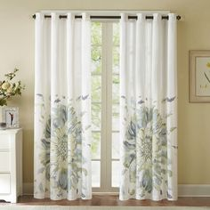 Floral Grommet Top Curtain Panel in Blue