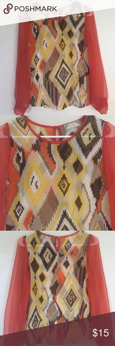 Flying Tomato sheer blouse! Lightweight! Perfect condition. Beautiful for early fall when it's still hot! Flying Tomato Tops
