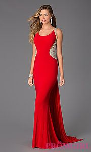 Buy Sleeveless Floor Length Dress with Illusion Back at PromGirl