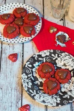Red Velvet Peanut Butter Cup Blossoms are a great Valentine's Day treat from The Girl In The Little Red Kitchen