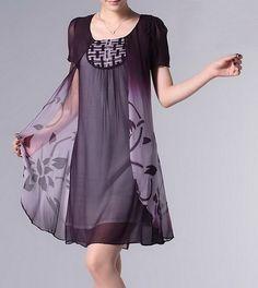 Changing Collor Shades Silk Dress-zeniche.com SKU aa0064