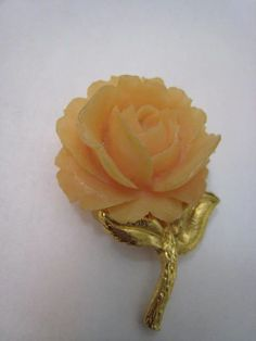 Large Vintage Gold Faux Coral Flower Rose Brooch Pin by Glamaroni, $14.00