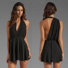 $24.00 | Fashion sexy sleeveless V-neck halter dress PO1017H