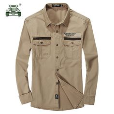 >> Click to Buy << AFS JEEP 2017 Men's military large size khaki shirts man spring autumn war casual brand 100% cotton army green long sleeve shirt #Affiliate