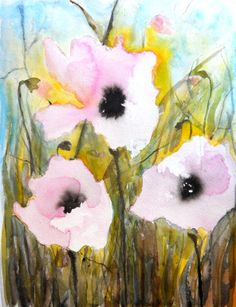 """Saatchi Online Artist: Karin Johannesson; Watercolor 2013 Painting """"Pink Poppies V"""""""