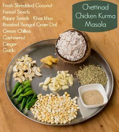 Chettinad Chicken Kurma, Chettinad Kari-Kozhi Kurma / Chicken Korma Recipe for Chettinad Kari / Kozhi Kurma. Made with coconut. Serve with idli, dosai, aappam or chapati. Indian Chicken Recipes, Veg Recipes, Curry Recipes, Indian Food Recipes, Cooking Recipes, Vegetarian Recipes, Chicken Kurma, Chettinad Chicken, Masala Powder Recipe