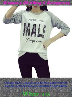 College Style Casual Long Sleeve Letter Printed Hoodie Jumper Pullover Sweatshirt Tops Shirts